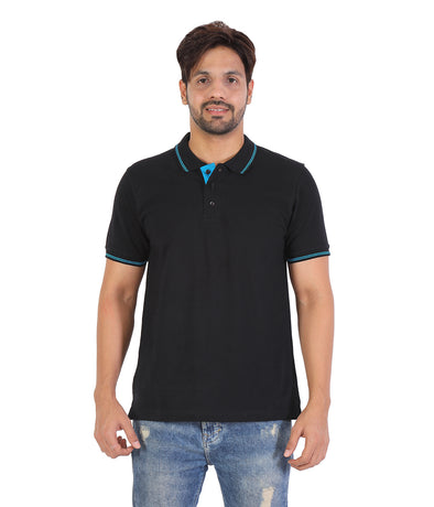 Men Black Tipping Polo Neck T-shirt-A10102BK