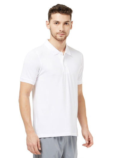 Men White Solid Golf Polo T-shirt-A1027WH