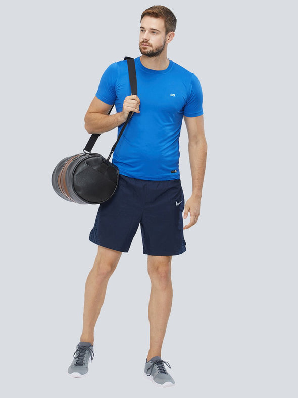 Men Blue 4-Way Stretch Solid Round Neck T-shirt Sportsqvest