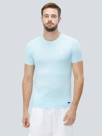 Men Light Blue 4-Way Stretch Self Design Round Neck Premium T-shirt-A10027BL
