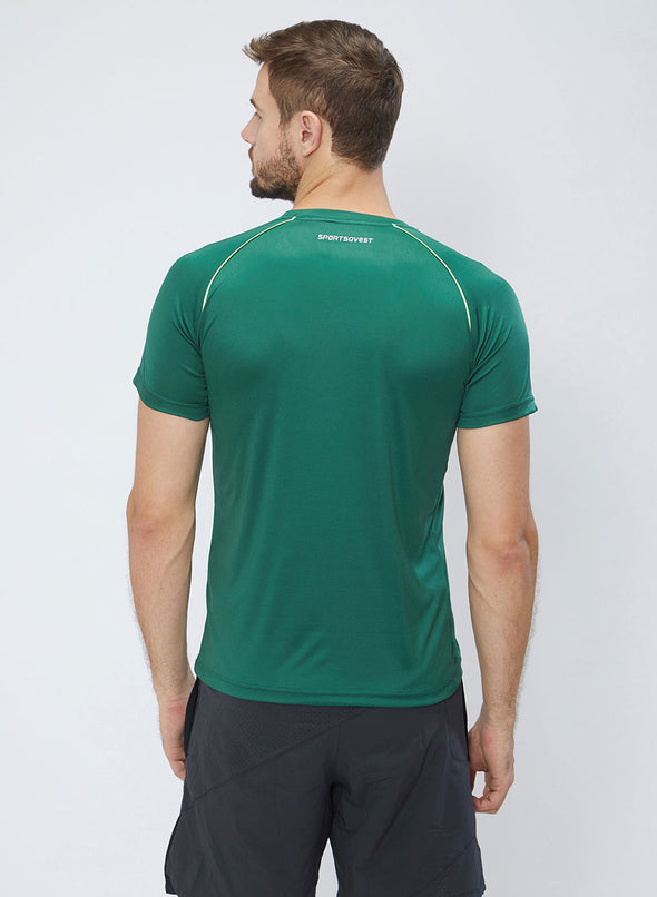 Men Green Stretch Solid Active Premium T-shirt-A10034GN
