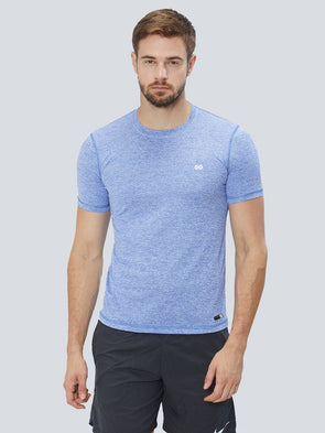 Men Blue 2-Way Stretch Self Design Round Neck Premium T-shirt-A10036NB