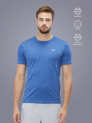Men Dark Blue Stretch Self Design Active T-shirt-A10039BL