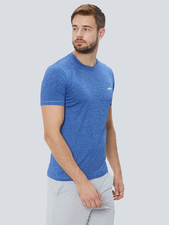 Men Dark Blue 2-Way Stretch Self Design Round Neck T-shirt Sportsqvest