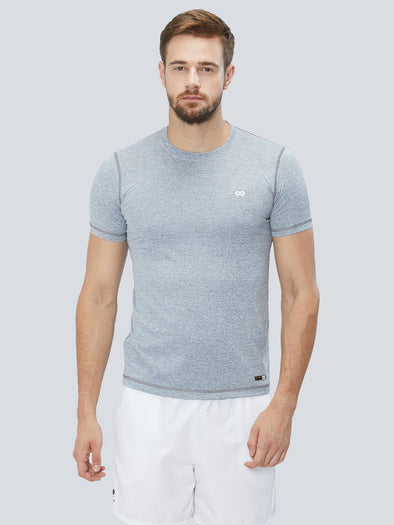 Men Grey 2-Way Stretch Self Design Round Neck Premium T-shirt Sportsqvest