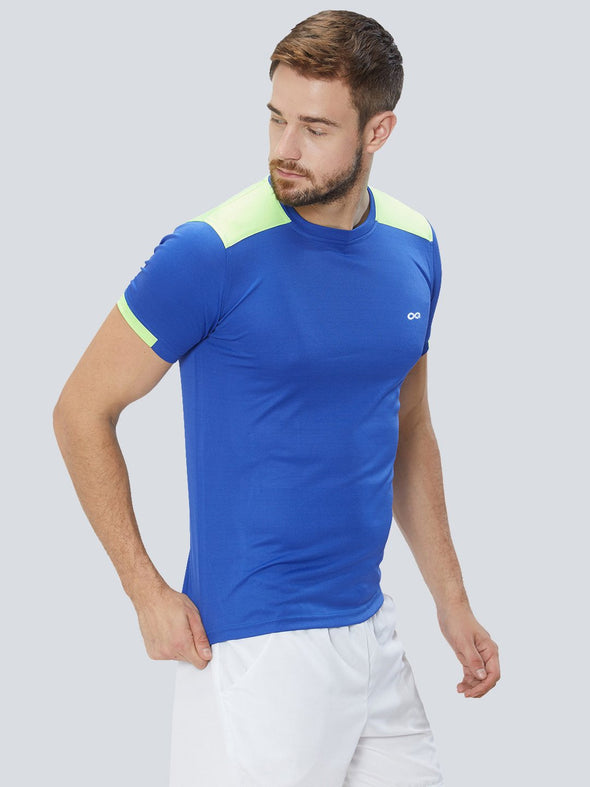 Men Royal Blue & Green 2-Way Stretch Solid Round Neck T-shirt Sportsqvest