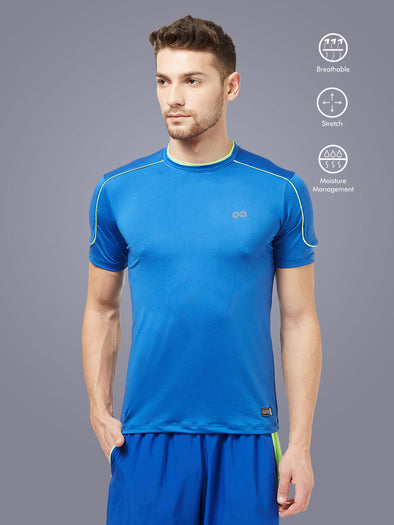 Men Blue Solid Round Neck Premium T-shirt-A10063RB
