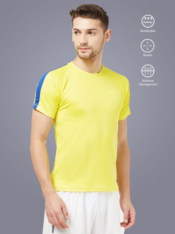 Men Yellow Solid Round Neck Active T-shirt-A10065YW