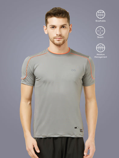 Men Grey Solid Round Neck Active T-shirt-A10078GY