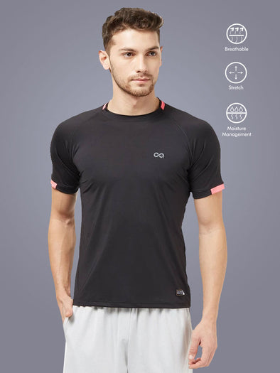 Men Black Stretch Solid Round Neck Active T-shirt-A10105BK