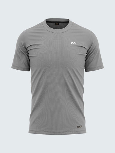 Men Grey Round Neck  Self-Design T-shirt-A10109GY - Sportsqvest