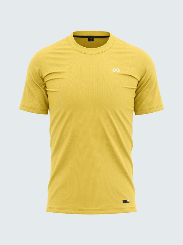 Men Yellow Round Neck Solid T-shirt-A10111YW