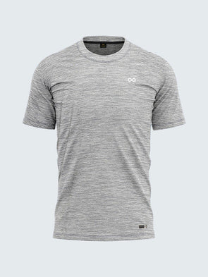 Men Grey Round Neck Self-Design T-shirt-A10121GY - Sportsqvest