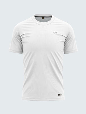 Men White Round Neck Solid T-shirt-A10122WH