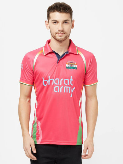 Bharat Army Unisex Pink Printed Polo Neck Fan Jersey | Sportsqvest