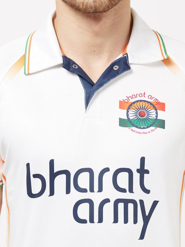 Bharat Army Unisex White Printed Polo Neck Fan Jersey Sportsqvest
