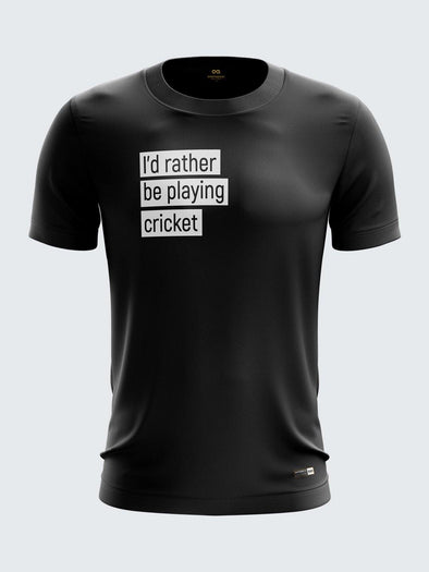 Gully Cricket Black Round Neck T-Shirt-1738BK