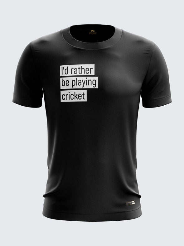 Gully Cricket Black Round Neck T-Shirt-1738BK - Sportsqvest