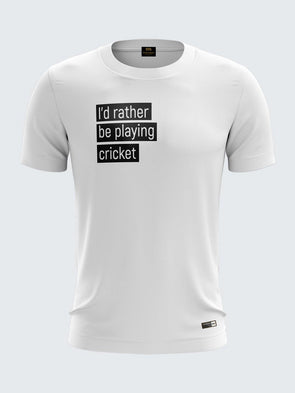 Gully Cricket White Round Neck T-Shirt-1738WH