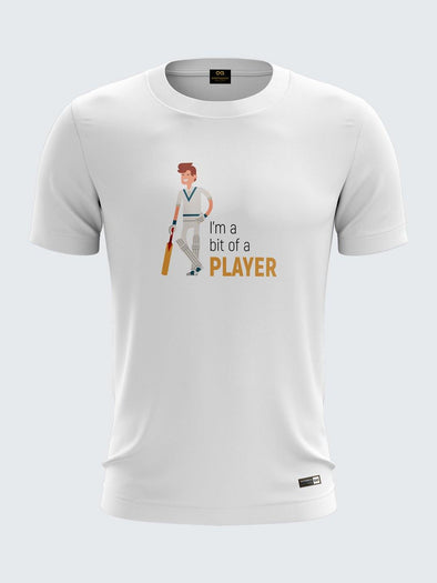 Gully Cricket White Round Neck T-Shirt-1739WH