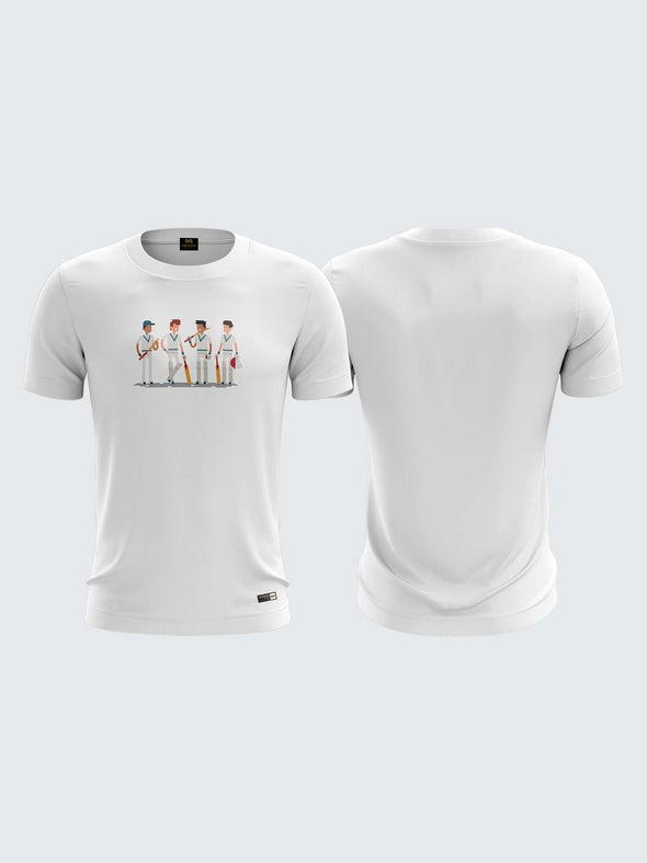 Gully Cricket White Round Neck T-Shirt-1741WH
