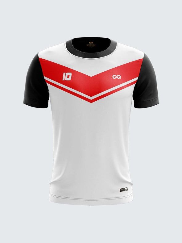 Men Red Printed Cricket Jersey Sportsqvest