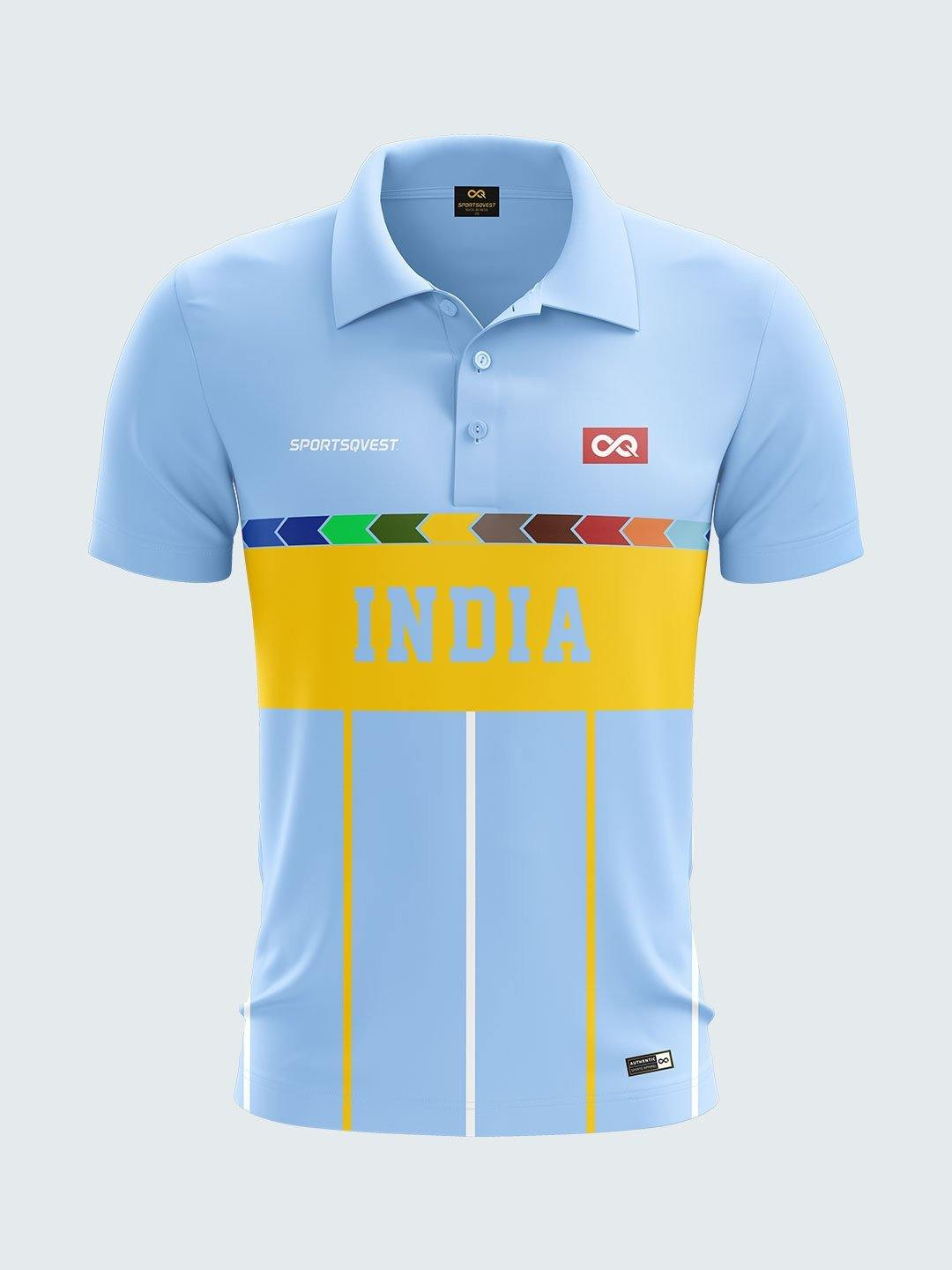 cheaper b661c 7bf37 1996 India Retro World Cup Jersey Printed Polo T-shirt-1996 ...