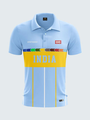 1996 Retro India Cricket Jersey Printed Polo T-Shirt-1996-IN1007