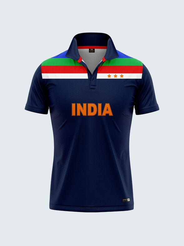 Customise 1992 Retro India Cricket Jersey Printed Polo T-shirt - CIN1880