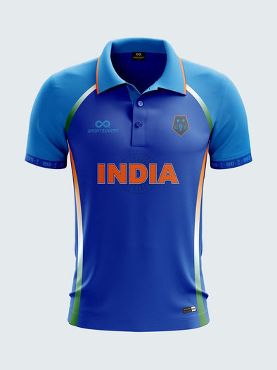 2019 India Cricket Fan Jersey Printed Polo T-Shirt-IN1026 - Sportsqvest
