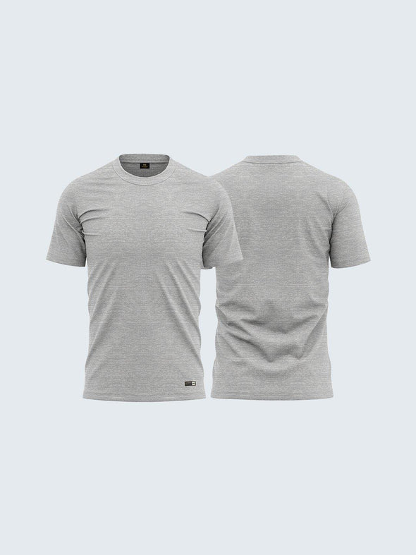 Men's Round Neck Melange Grey Soft Cotton T-Shirt - CS9003 - Sportsqvest