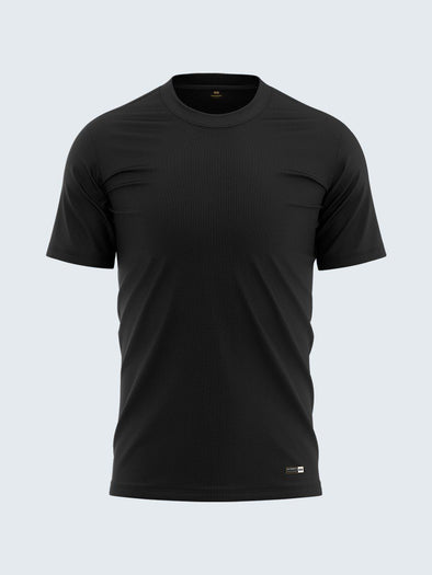 Men's Round Neck Black Soft Cotton T-Shirt - CS9005 - Sportsqvest