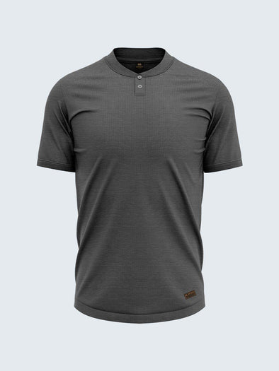 Men's Henley Carbon Black T-Shirt (Short Sleeve) - CS9008 - Sportsqvest