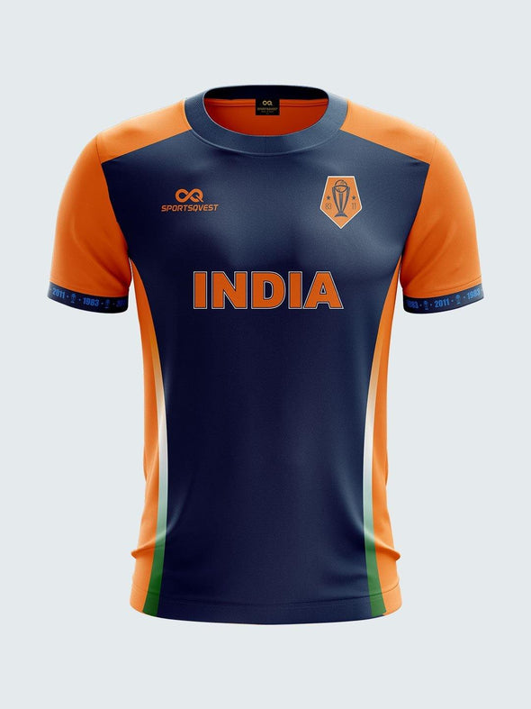 Customise 2019 Orange India Cricket Jersey Round Neck T-Shirt-CIN1029 - Sportsqvest