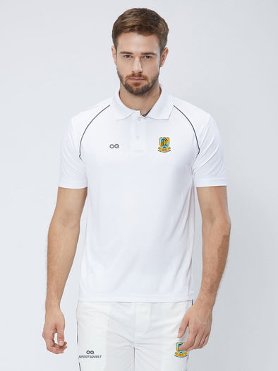 Men Cricket Whites 2-Way Stretch With Black Pipping Solid Polo Jersey-A10010WH