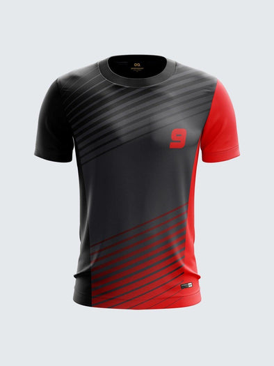 Men Black Printed Cricket Jersey Sportsqvest
