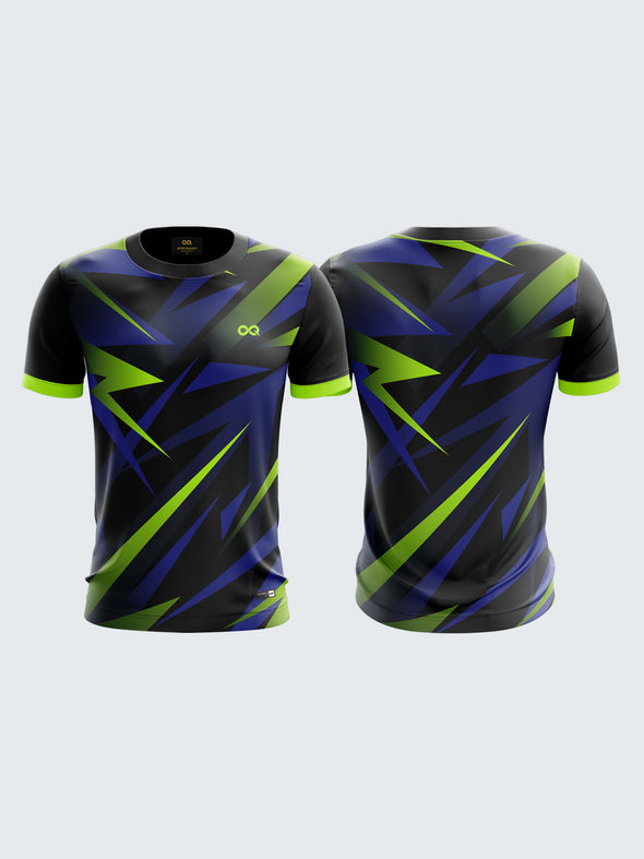 Men MultiColour Printed Abstract Round Neck Sports Jersey-1395BK