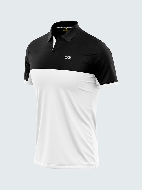 Mars Dry Fit Men's Polo T-Shirt Black & White - 1839BK - Sportsqvest
