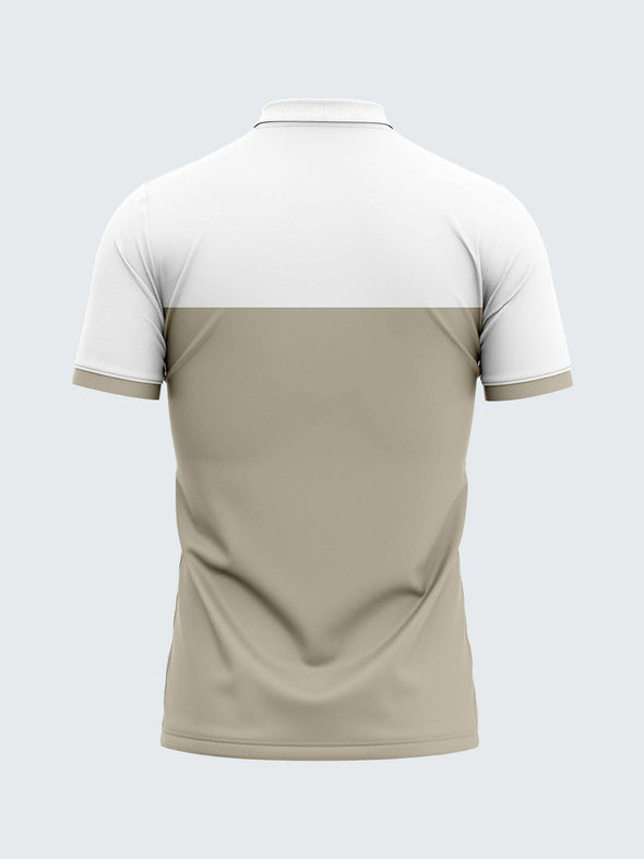 Men White & Aluminium Polo T-shirt-1840AL