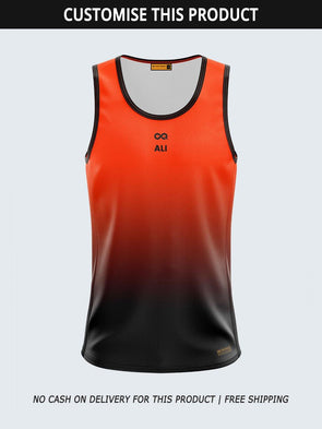 Custom Men Singlet Orange Printed Tank Top-1776C-OG