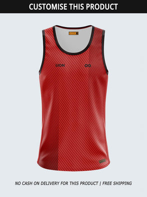 Custom Men Singlet Red Printed Tank Top-1780C-RD