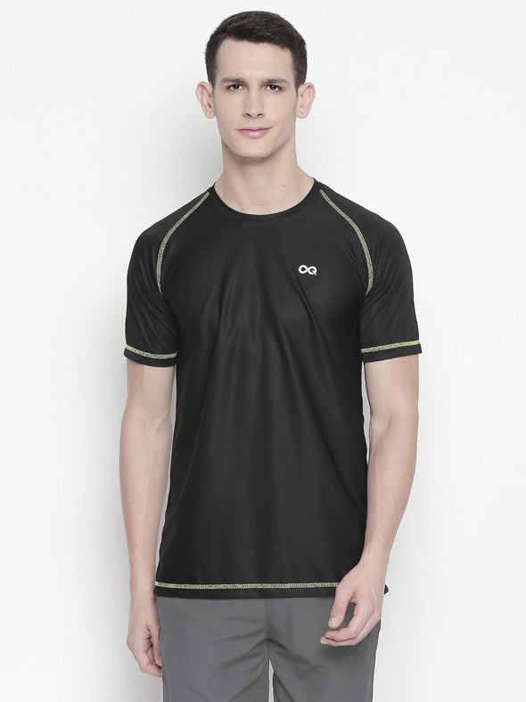 Men Black Round Neck Solid T-shirt-A10115BK - Sportsqvest