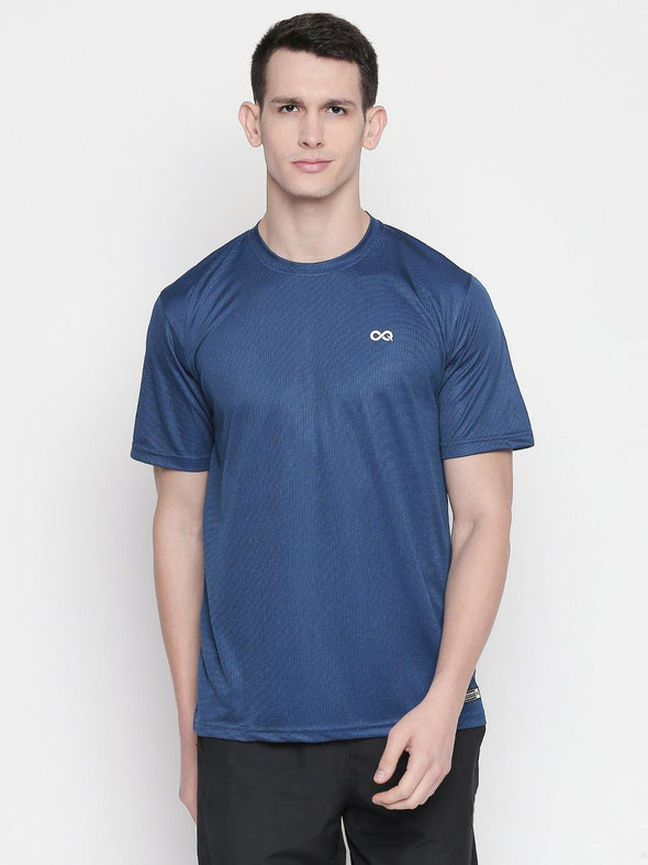 Men Blue Round Neck Solid T-shirt-A10125RB - Sportsqvest