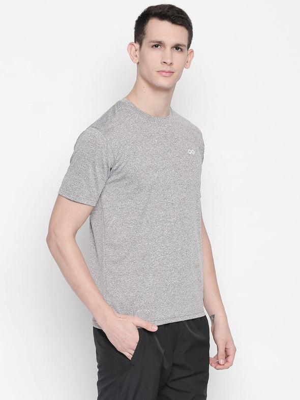 Men Grey Round Neck Self-Design T-shirt-A10112GY