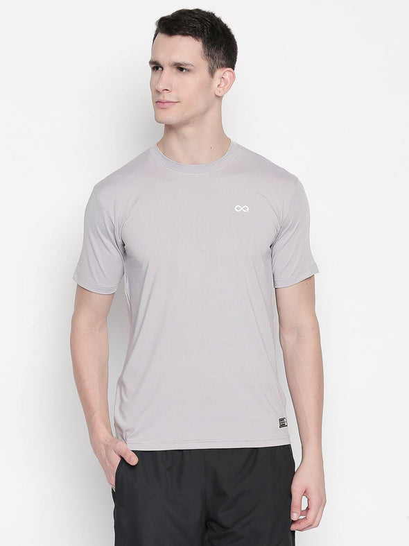 Men Grey Round Neck Solid T-shirt-A10114GY - Sportsqvest