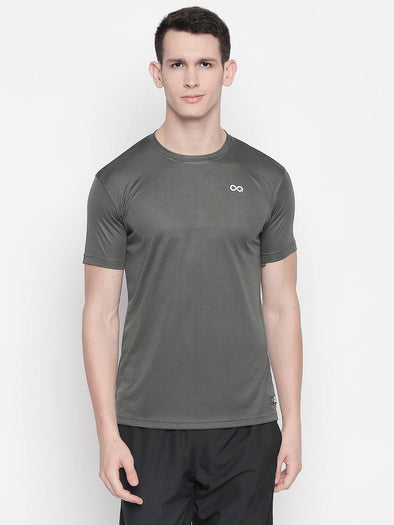 Men Grey Round Neck Solid T-shirt-A10119GY