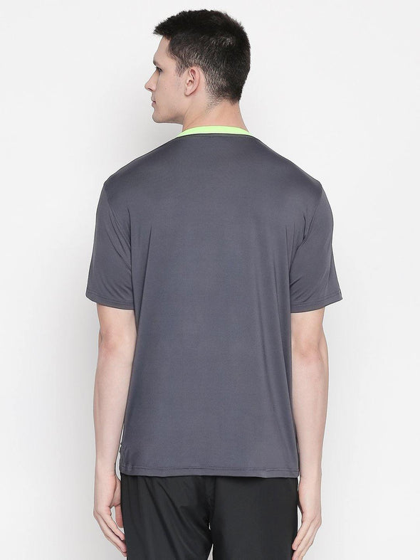 Men Grey Round Neck Solid T-shirt-A10131GY - Sportsqvest