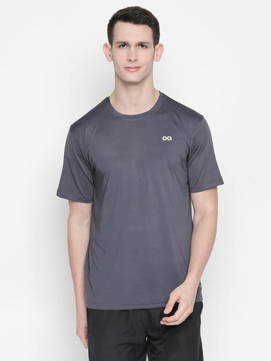 Men Grey Round Neck Solid T-shirt-A10131GY