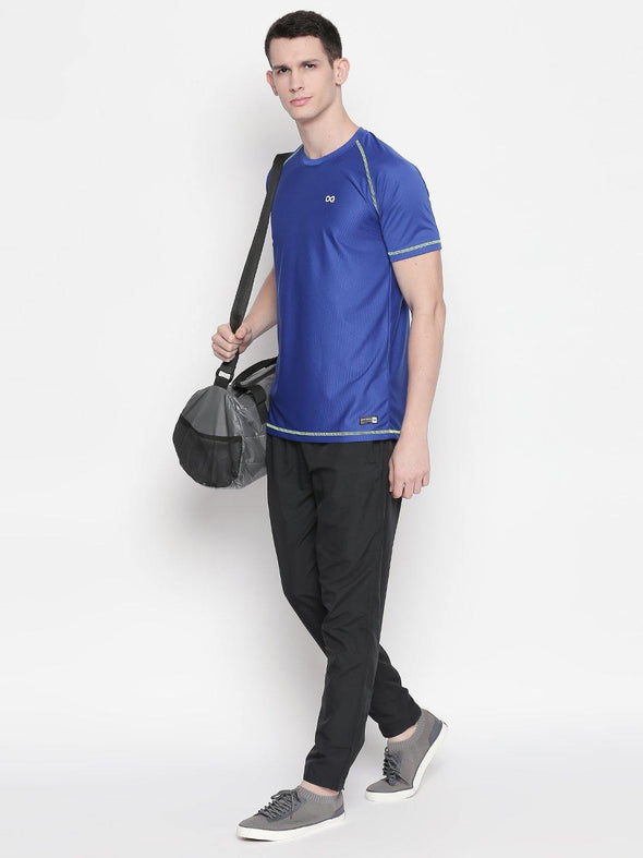 Men Royal Blue Round Neck Solid T-shirt-A10117RB - Sportsqvest