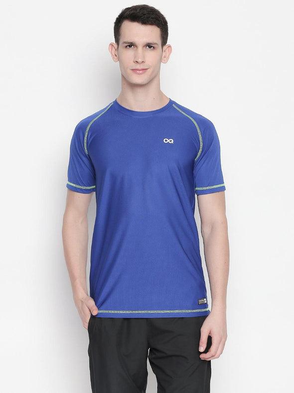 Men Royal Blue Round Neck Solid T-shirt-A10117RB